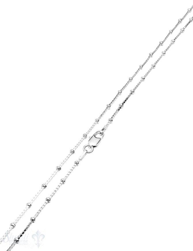 Silberkette Fantasie Venezianer 1,0 mm 38 cm mit Kugeln in Abständen Karabiner