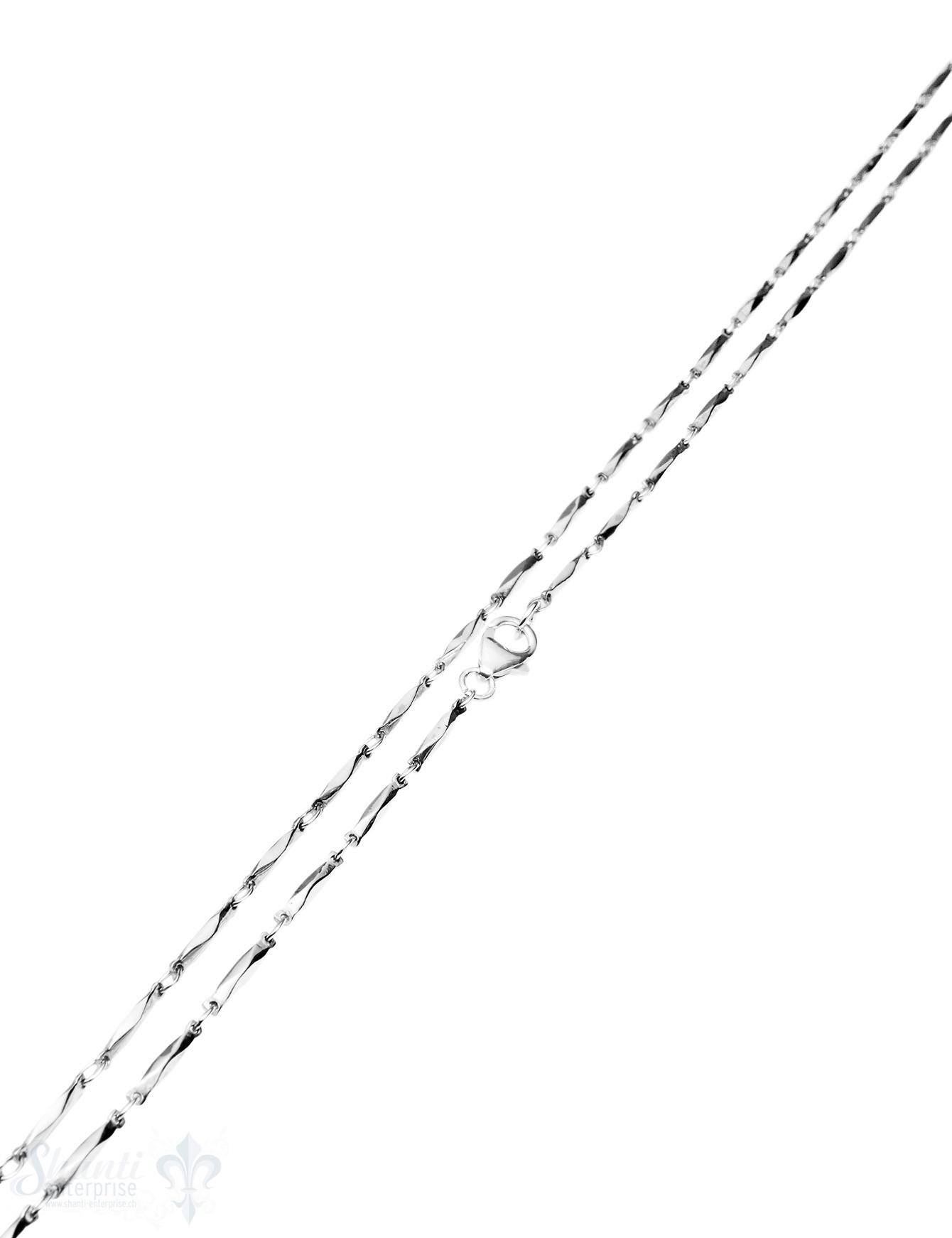 Silberkette Fantasie Glieder schmal gedreht 100 cm