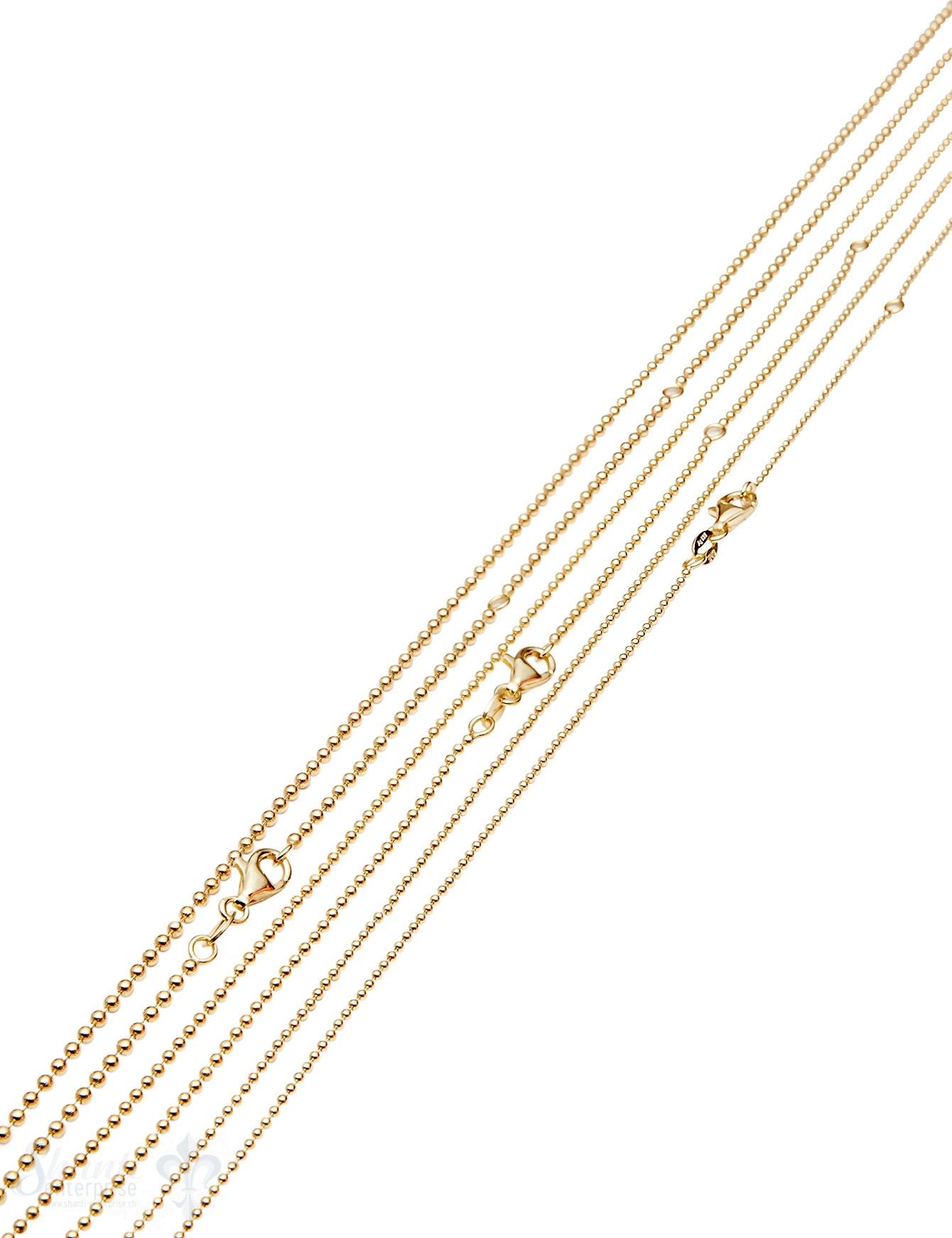 Silberkette Kugel gelb vergoldet  1 Mikron vergoldet