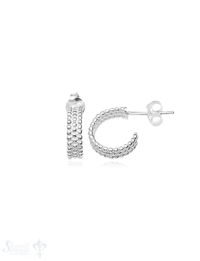 Ohrstecker Creolen Silber 3 Reihen gepunktet offen