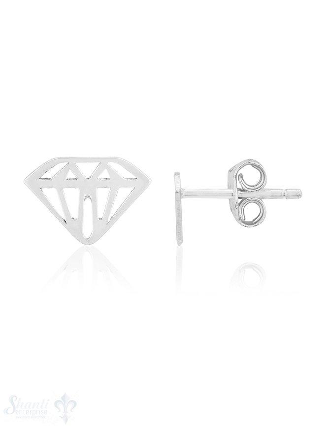 Ohrstecker Silber 7 x 9 mm Diamant- Schliff offen ec