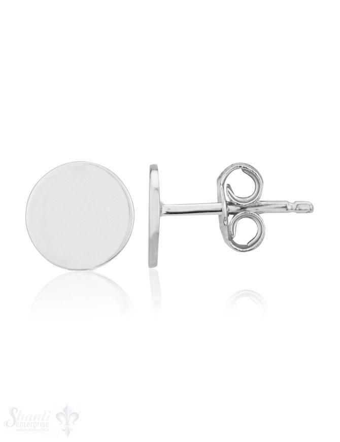 Ohrstecker Silber 7 mm Kreis flach ec