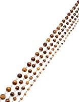 Rosenkranzkette Tigerauge braun rund poliert Silber Abschnittlänge wird angepasst Preis per m