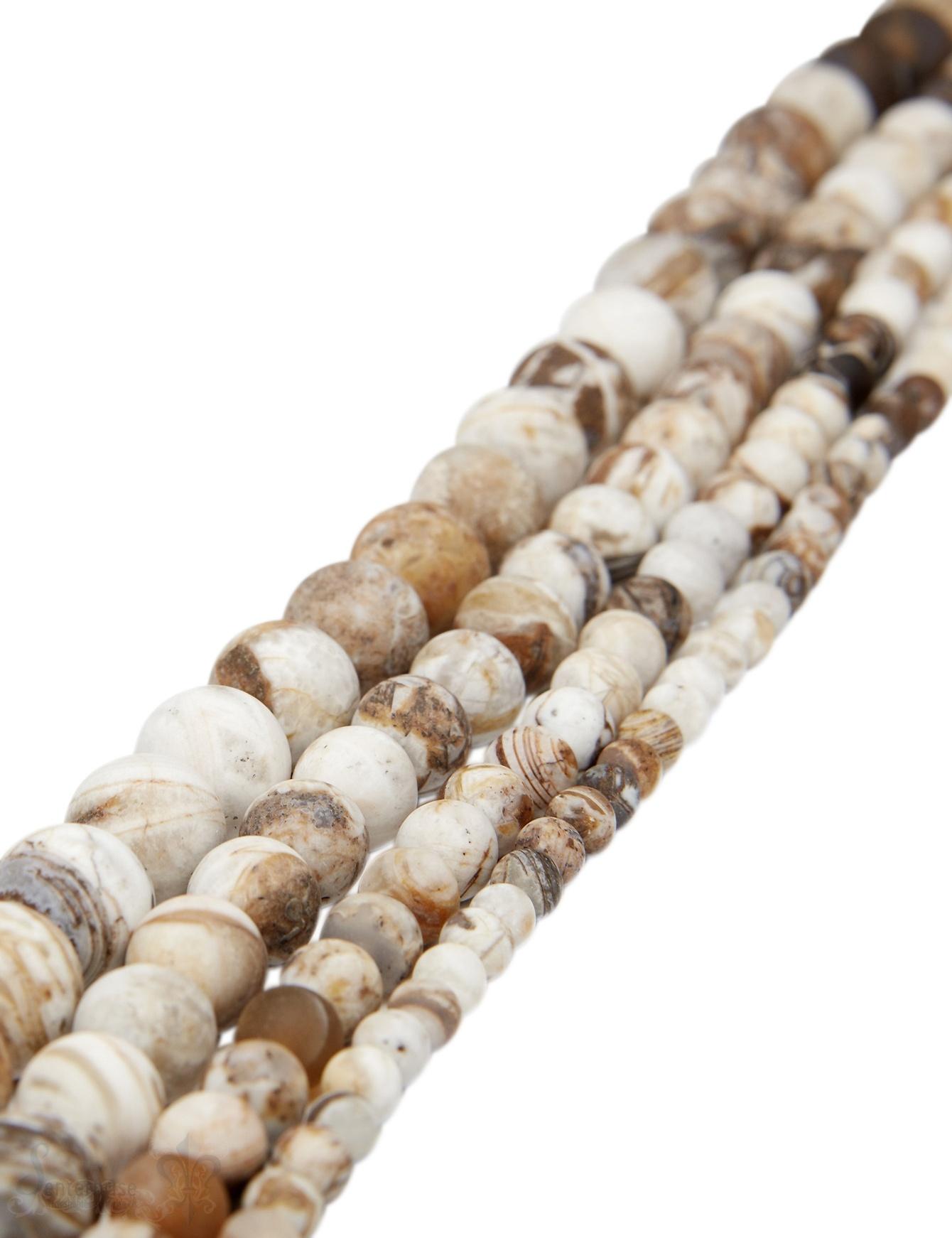 Wood -Jaspis Strang braun matt Kugeln