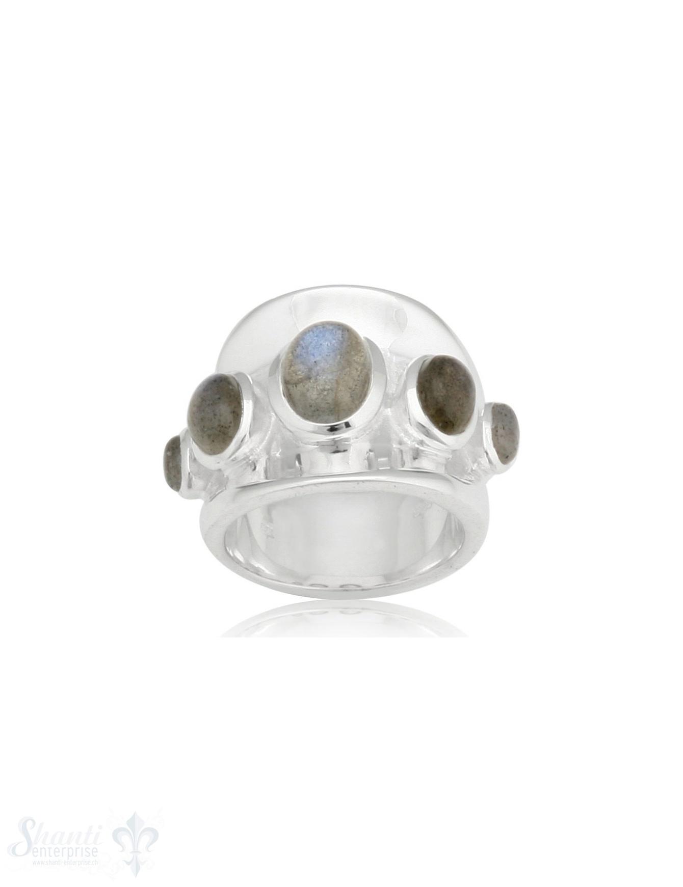 Silberring gebogen 5 Steine Labradorit 18 mm breit