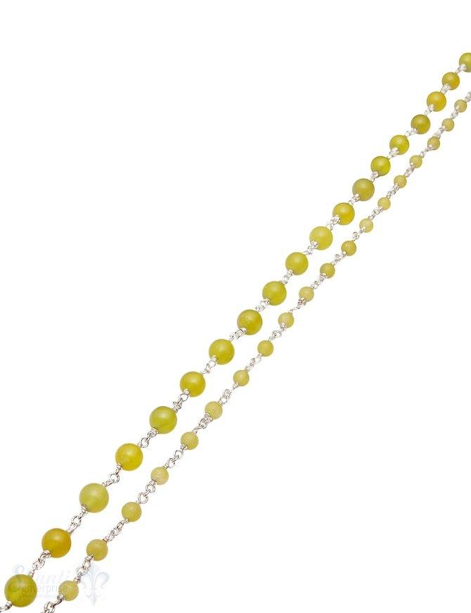 Rosenkranzkette Serpentin grün rund poliert Silber Abschnittlänge wird angepasst Preis per m
