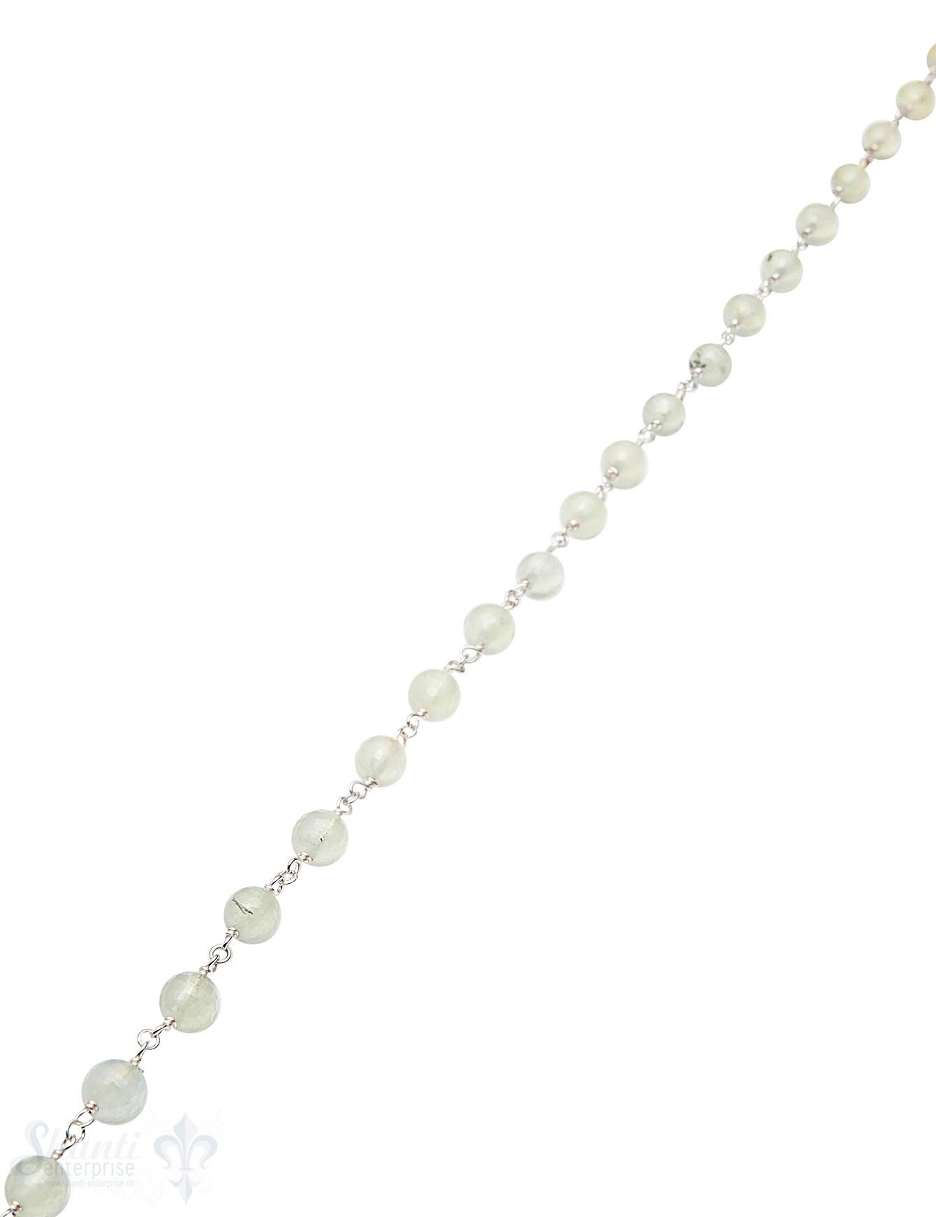 Rosenkranzkette Prehnit grün 6 mm rund facettiert