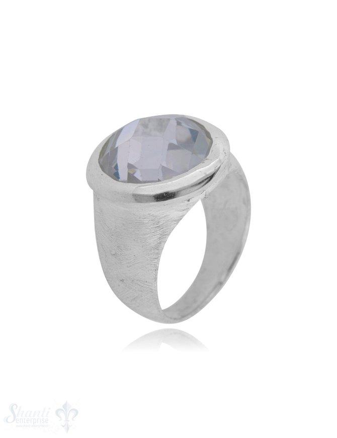 Silberring gekratzt mattiert rund mit Stein facettiert gefasst