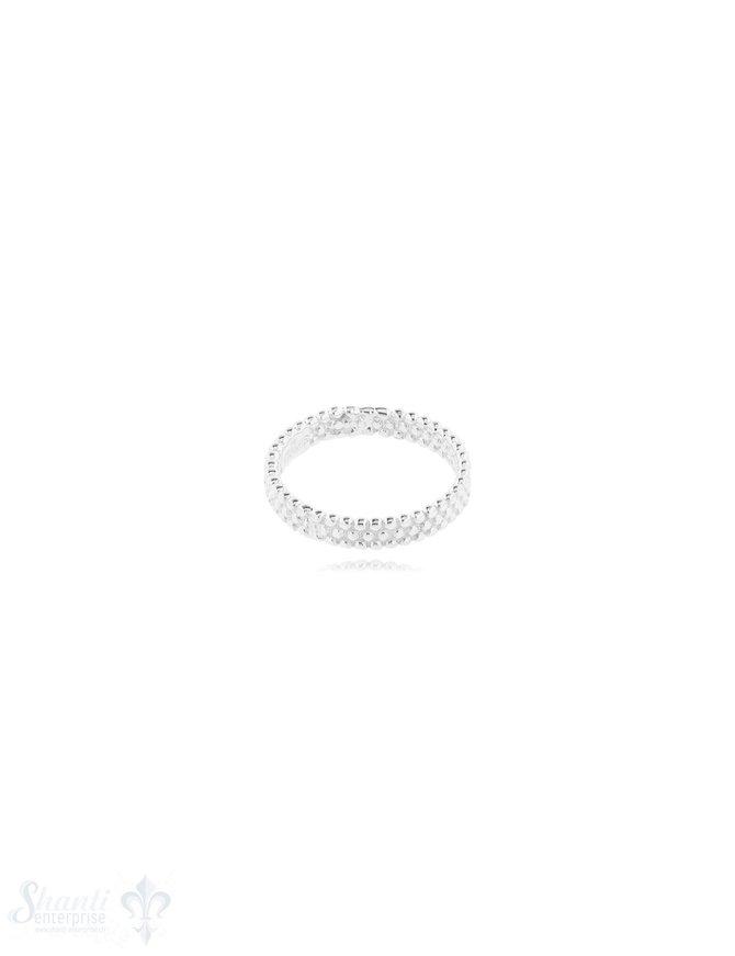 Silberring 3 reihig getupft 3,8 mm breit