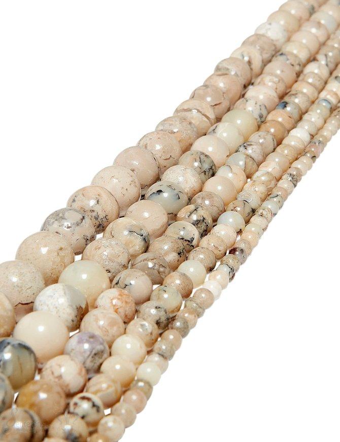 afrik.Opal Strang beige poliert Kugeln  A 4 mm (rund 4,1-4,3 mm)