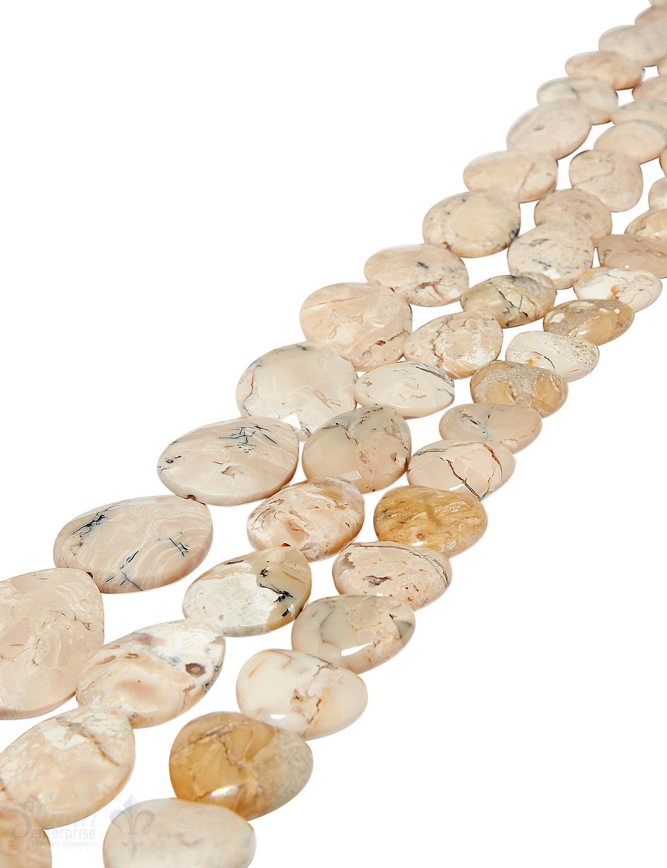 afrik.Opal Strang beige eckig geschliffen Tropfen flach