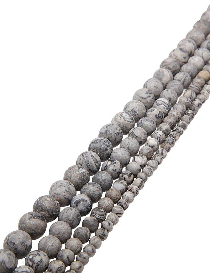 Fossilien-Jaspis Strang grau gefleckt matt Kugeln