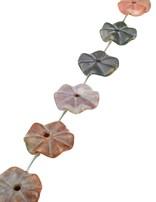 Heliotrop Strang dunkelgrün matt Blume 30 mm gewellt gelocht mit Platzhalter