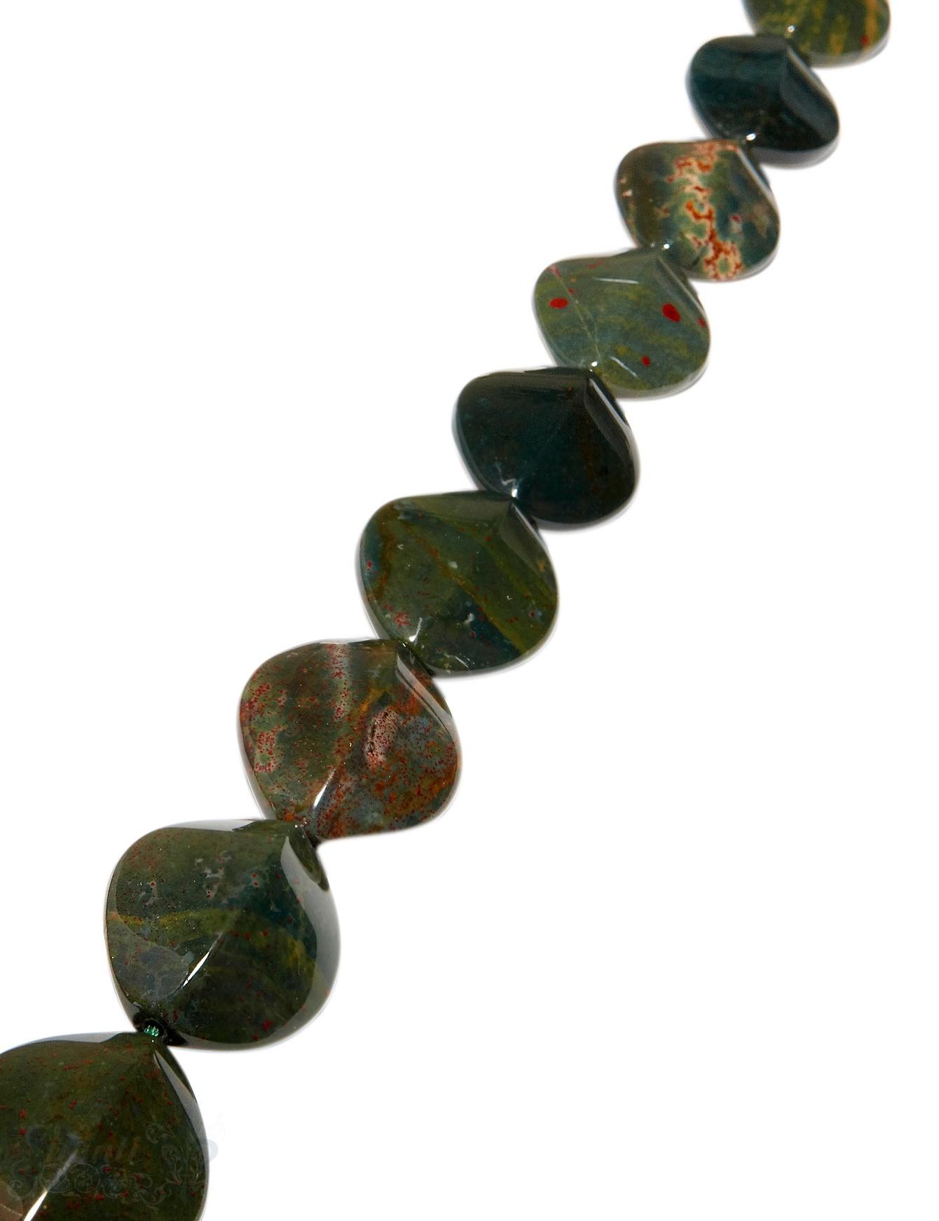 Heliotrop Strang dunkelgrün poliert Elipse kantig