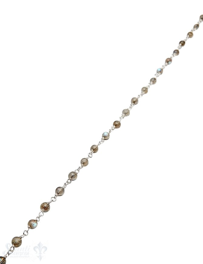 Rosenkranzkette Labradorit grau-blau 4 mm rund poliert Silber Abschnittlänge wird angepasst Preis per m