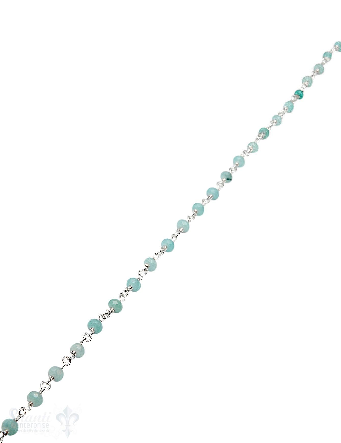 Rosenkranzkette Amazonit blau 4,5 mm Button facett