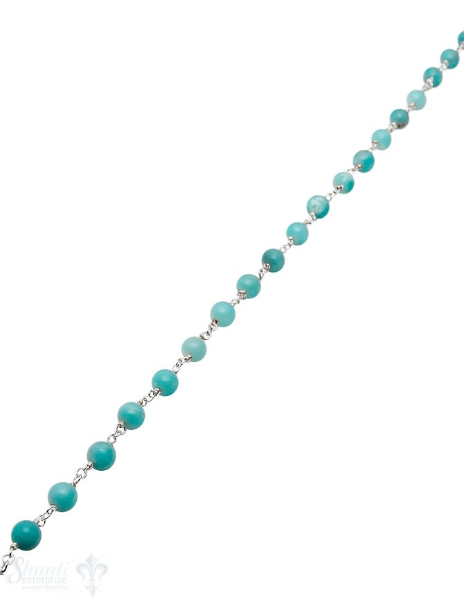Rosenkranzkette Amazonit blau 6 mm rund poliert Silber Abschnittlänge wird angepasst Preis per m