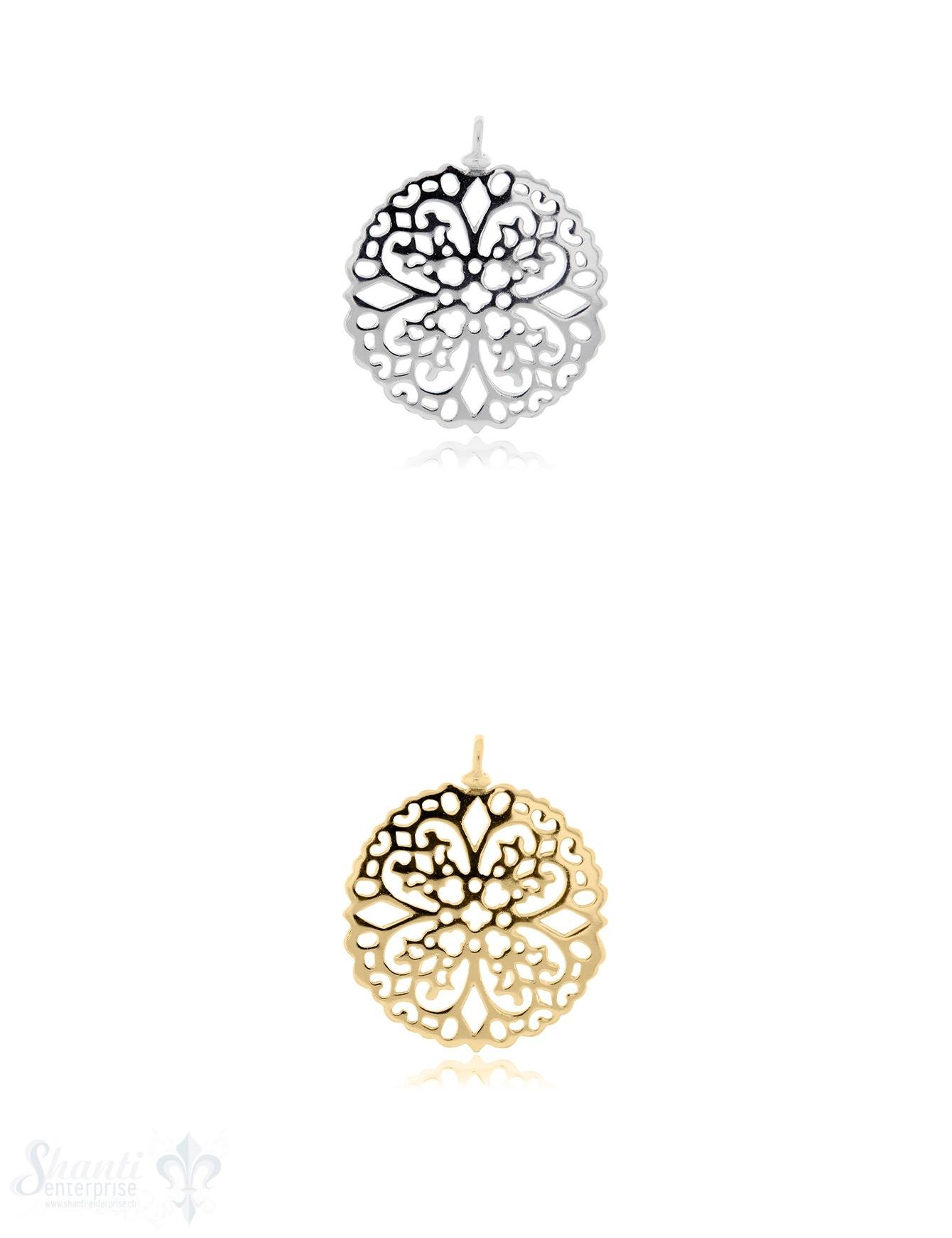Silberanhänger Amulett Blumenmuster durchbrochen mit Öse 30 mm