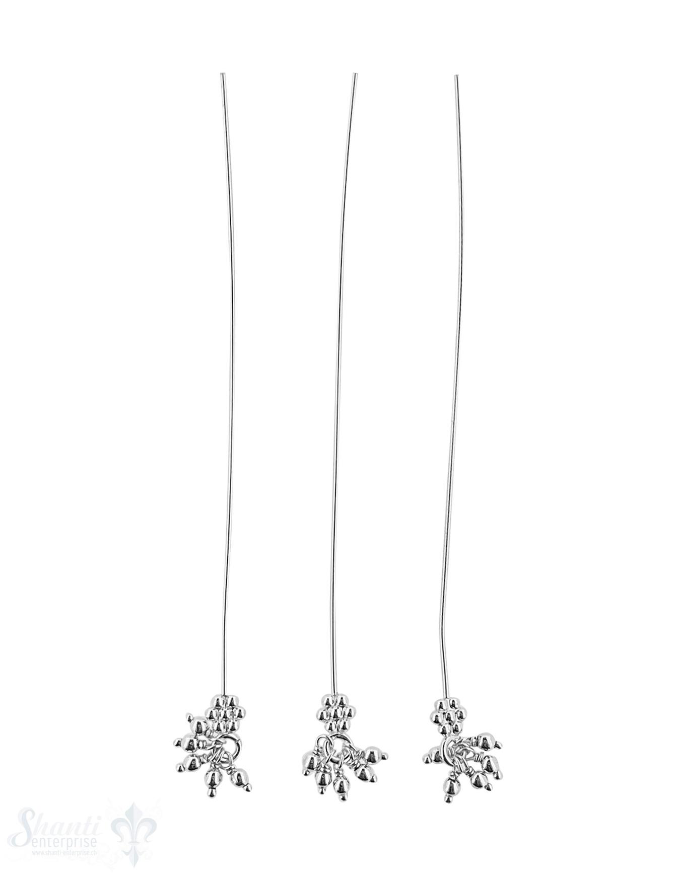 Silbernadel hell 78x0,7 mm Blume mit 5 Tropfen
