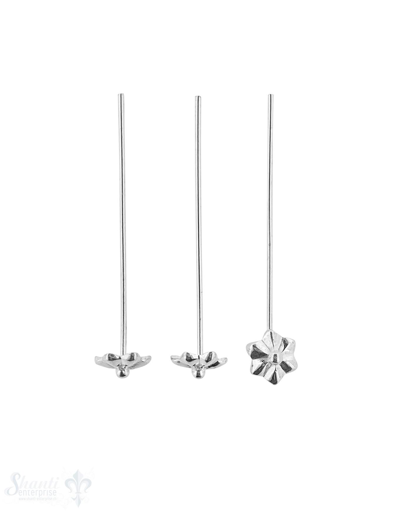 Silbernadel hell 45x1 mm mit Blume 7,5mm 6 Stk.=
