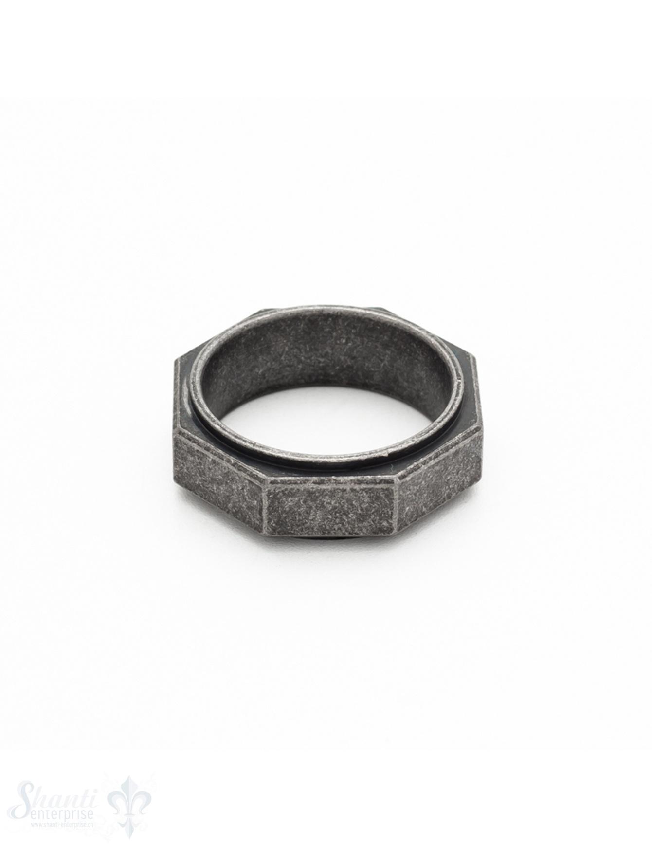 Herrenring Stahl Achtkant schwarz antik seitlich Abschlussrand schwarz