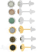 Edelsteine 8 mm facettiert Ohrstecker Silber hell Fassung zweireihig versetzt gepunktet