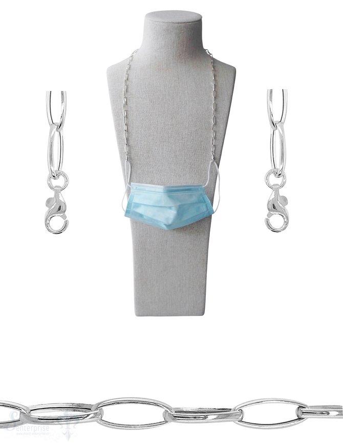 Brillen- oder Maskenkette 70 cm Silberkette oval 16x7 mm mit 2 Karabiner Silber und Gummischlaufen ca. 16 gr.