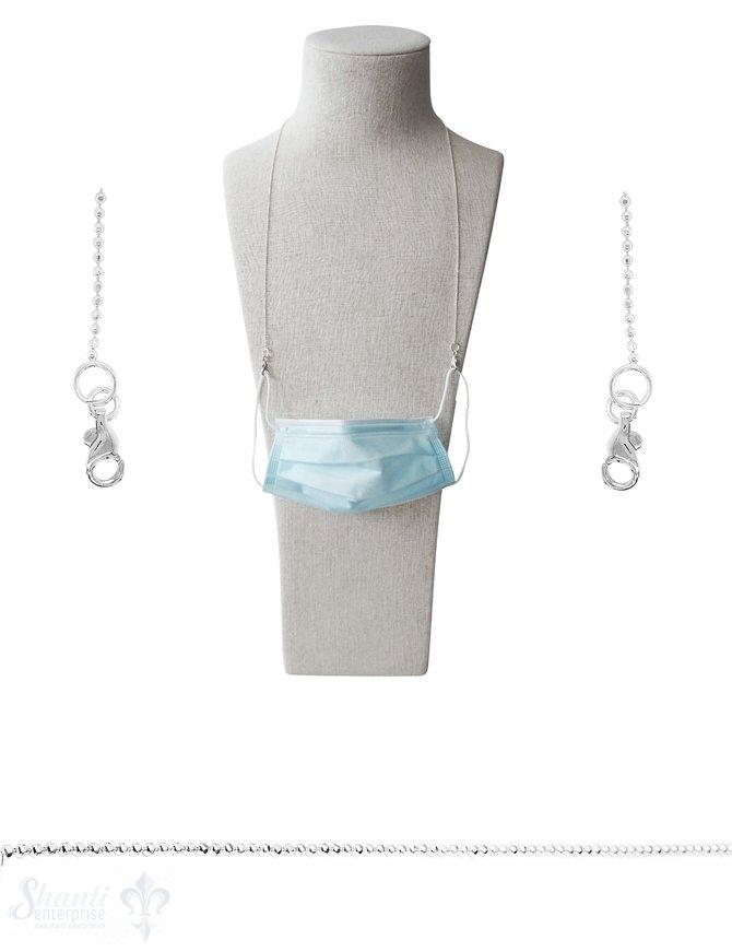 Brillen- oder Maskenkette 70 cm Silberkette Kugel 1.5 mm facettiert  mit 2 Karabiner Silber und Gummischlaufen ca. 7 gr.