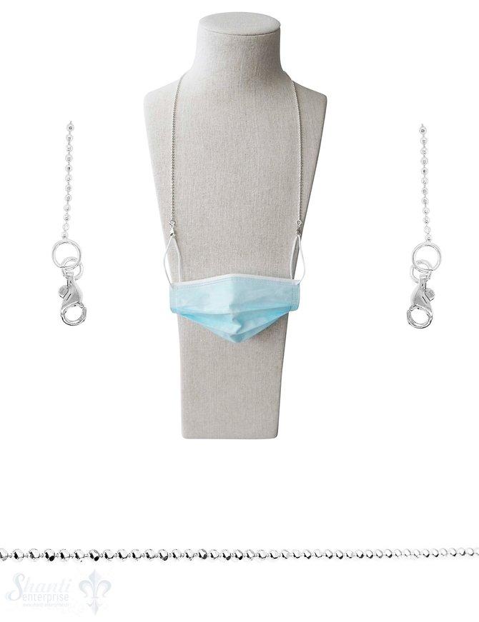 Brillen- oder Maskenkette 70 cm Silberkette Kugel 3 mm facettiert  mit 2 Karabiner Silber und Gummischlaufen ca. 20 gr.