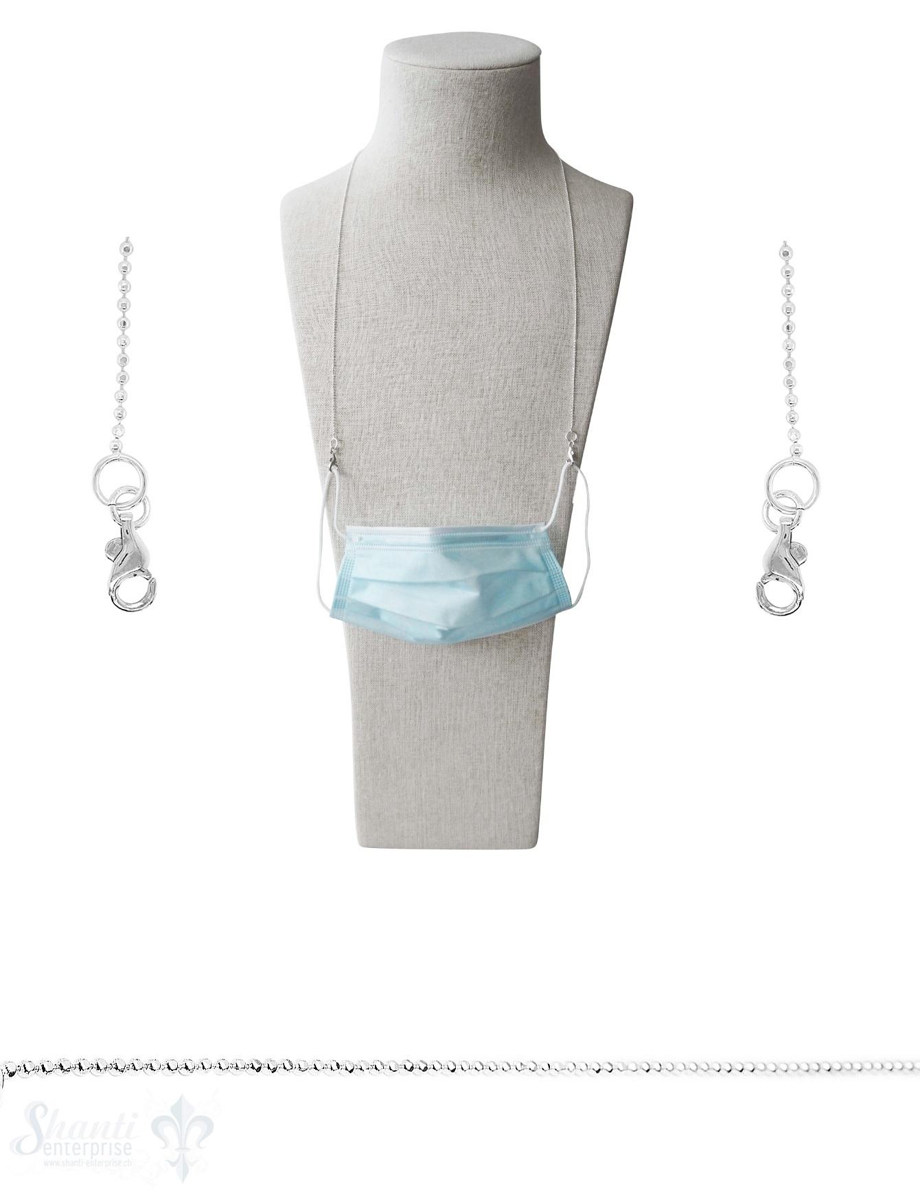 Brillen- oder Maskenkette 70 cm Silberkette Kugel 2 mm facettiert  mit 2 Karabiner Silber und Gummischlaufen ca. 10 gr.