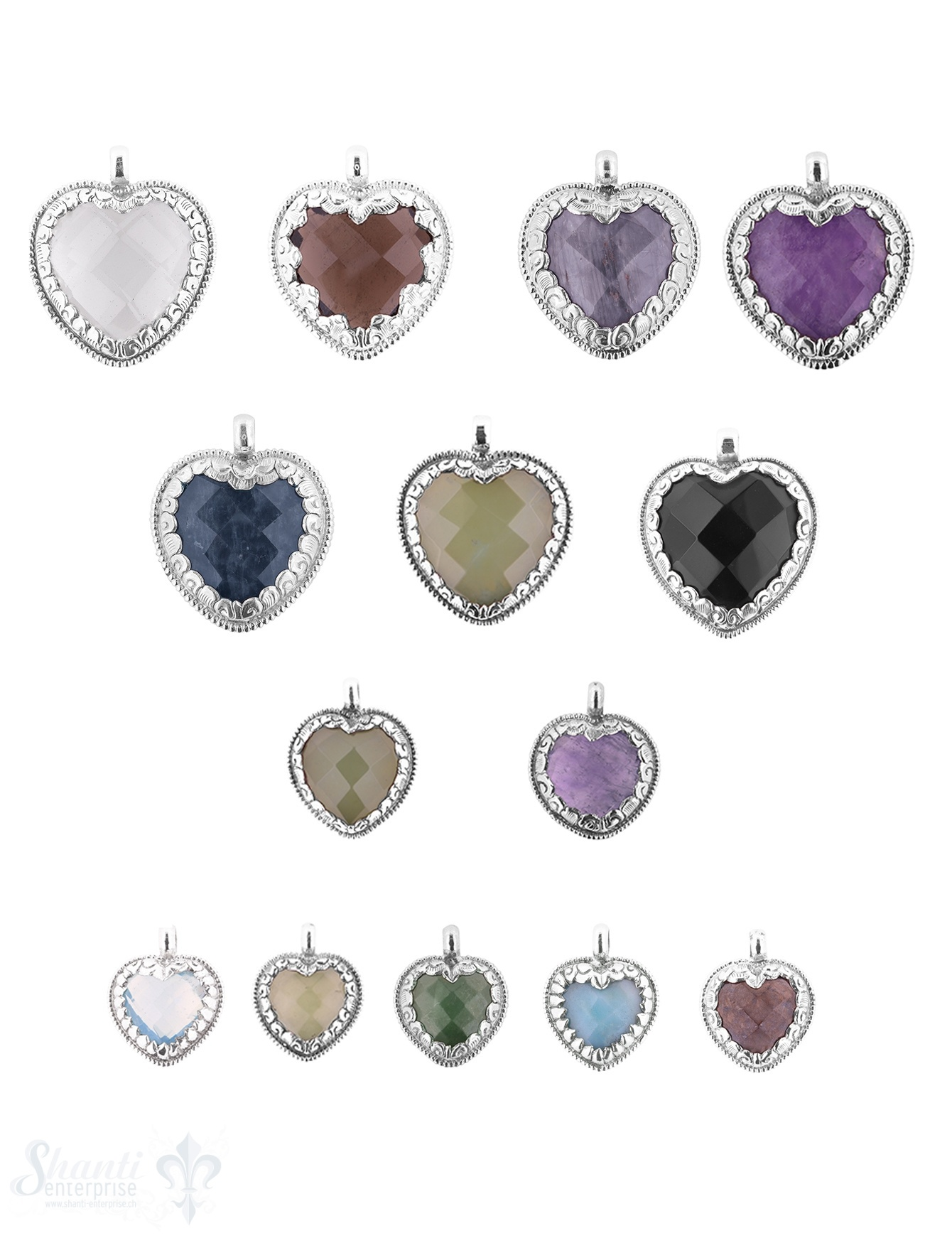 Herz Anhänger Silber mit Gefasstem Stein facettiert verziert massiv Öse fix Handmade