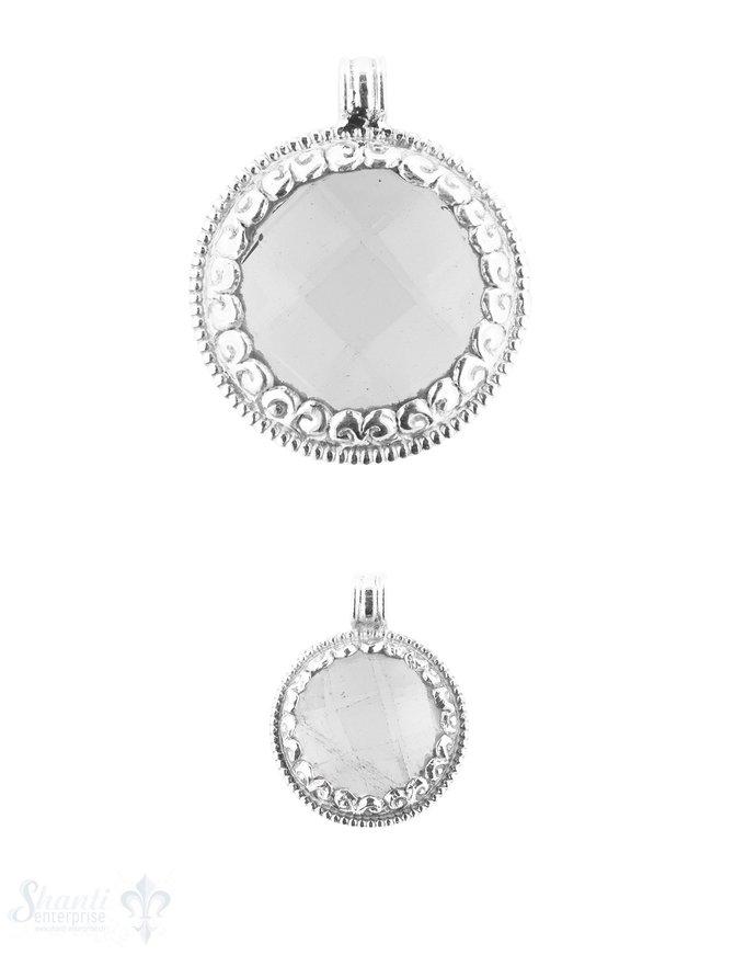 Amulett Anhänger Silber mit gefasstem facettiertem Stein rund Silber verziert massiv Öse fix Handmade