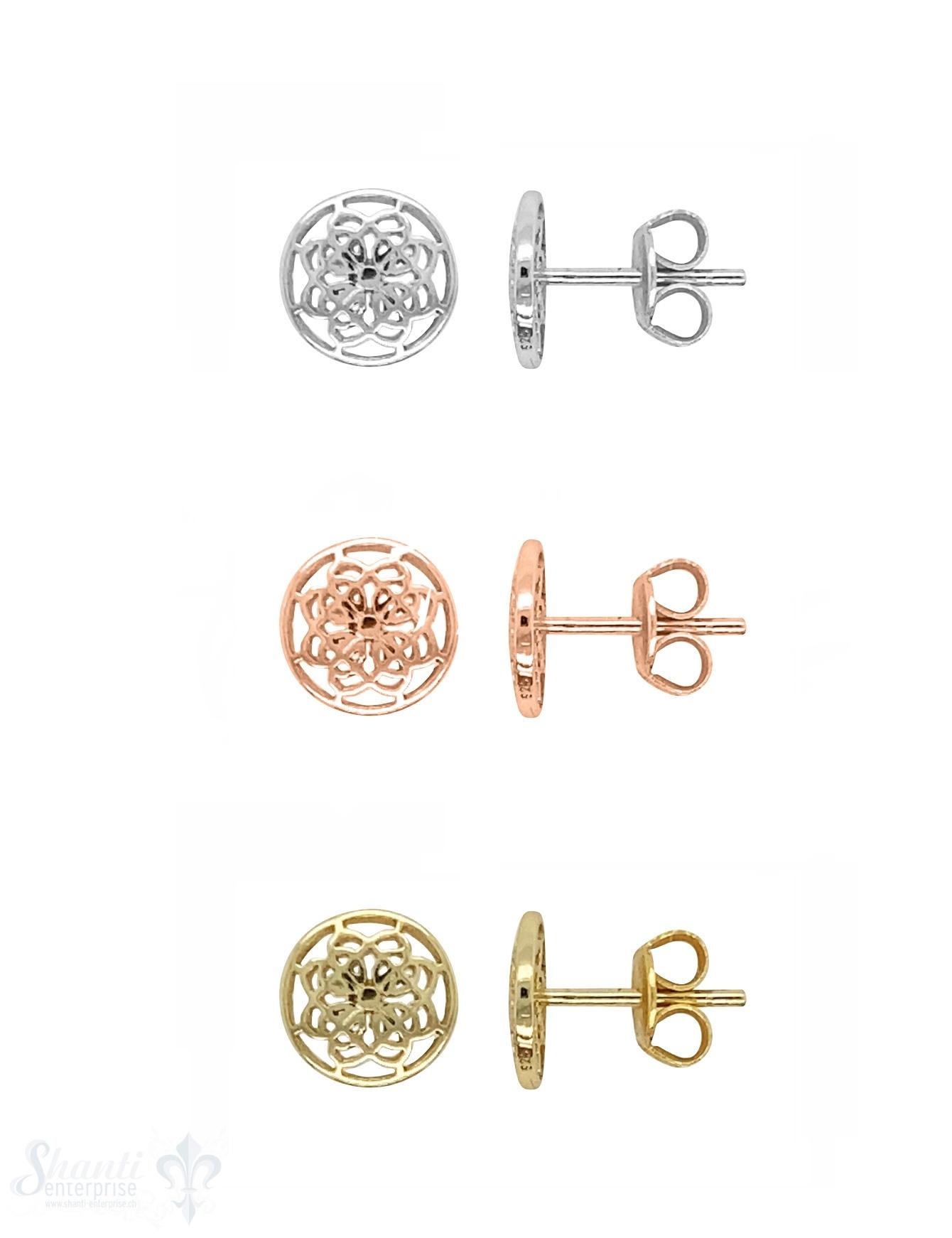 Ohrstecker Silber 8 mm Blumenmandala