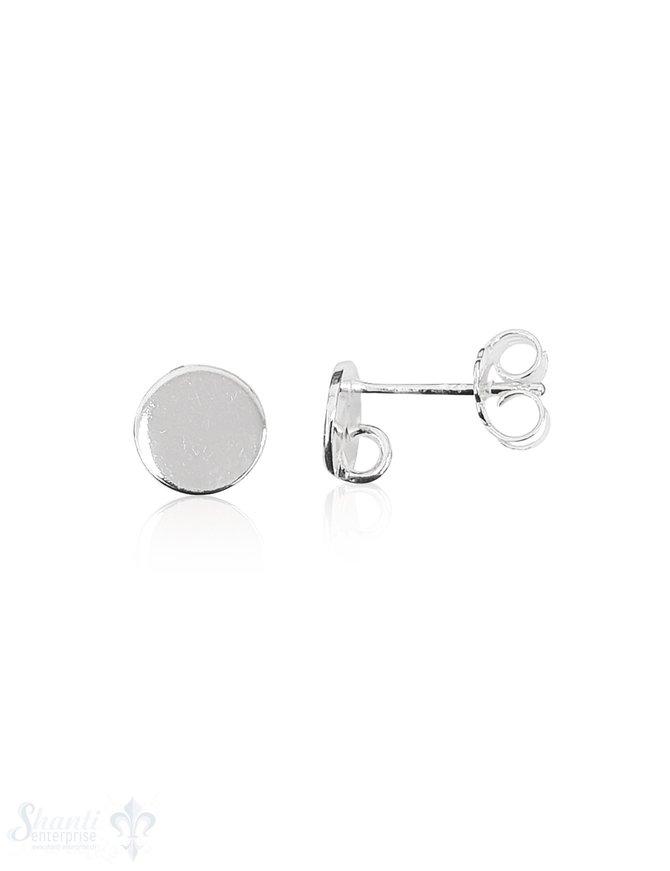 Ohrstecker Silber hell Scheibe 7 mm mit Haken offe n 1 Pack = 2 Paar