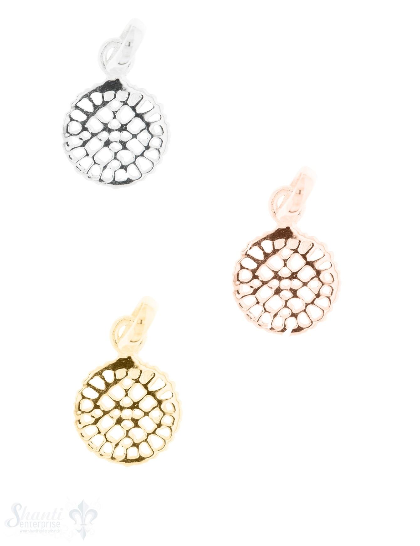 Silberanhänger Amulett mit Löcher poliert mit Öse 10 mm