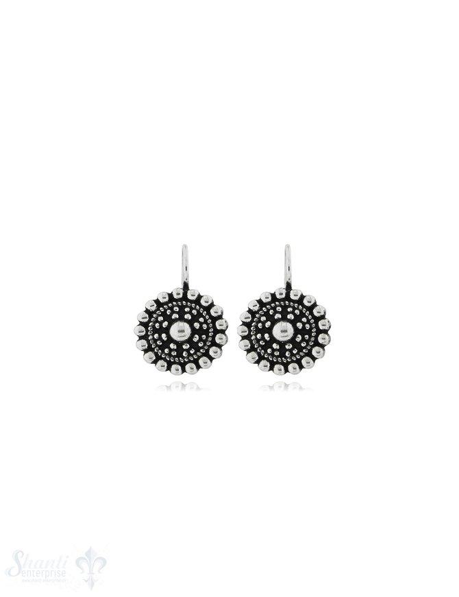 Ohrhänger mit Bügel fix: Ornament Silber 14 mm