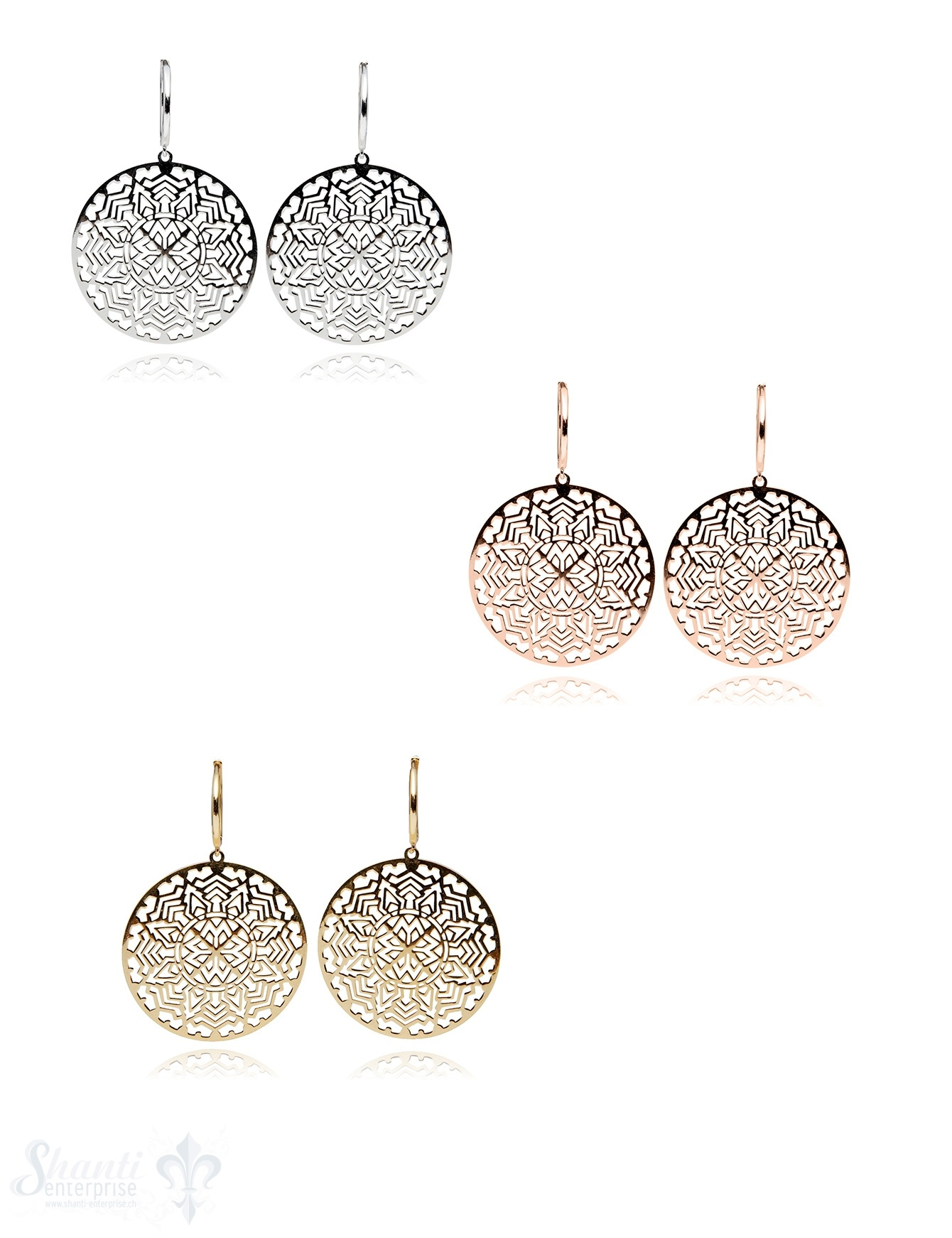 Creolen Silber hell 15 mm mit Mandala durchbrochen fein 30 mm