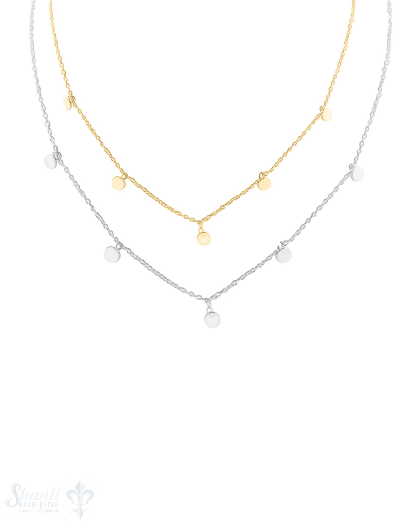 Halskette fein in der Mitte 5 Disk 4 mm hängend, poliert, Grössenverstellbar 41-45 cm und 36 u. 38 cm