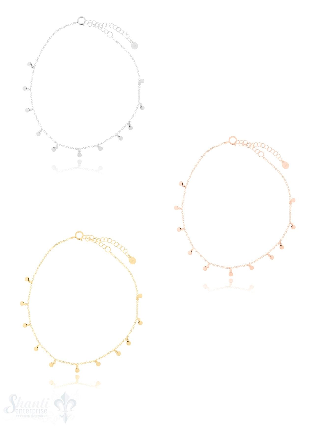 Fussketteli Silber Anker fein mit Mini-Plaquetten