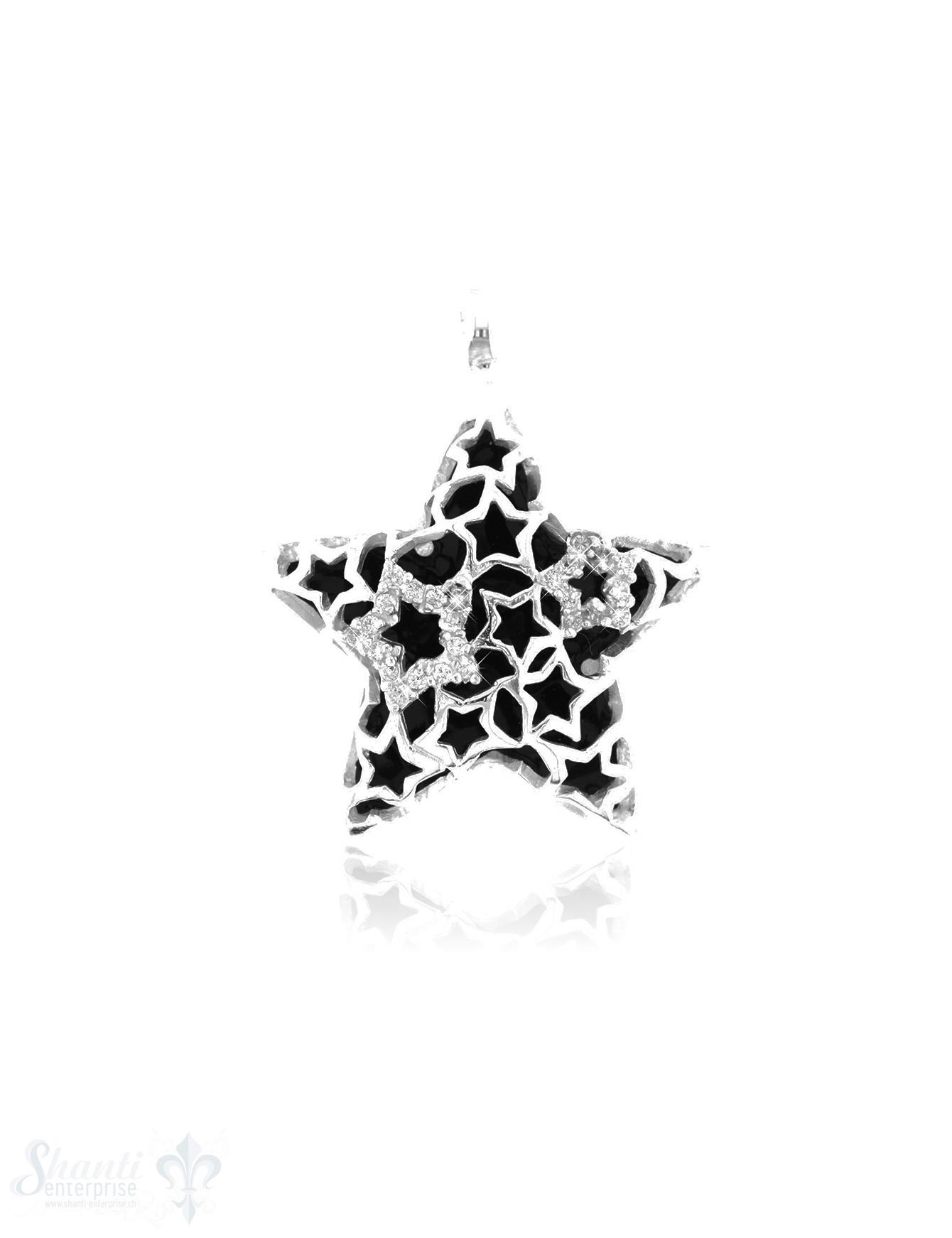 Si-Anhänger: Stern mit Zirkonia D: 35 mm Dicke: 10 mm
