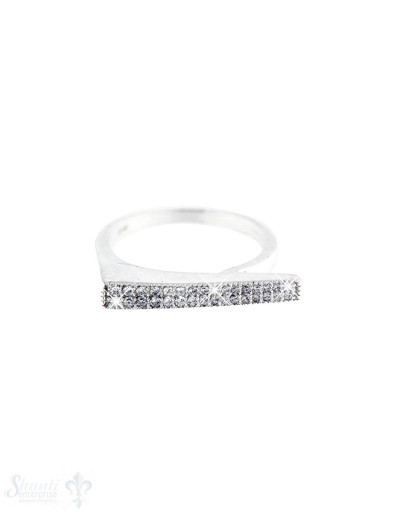Silberring: mit Zirkoniabalken breit rechtwinklig