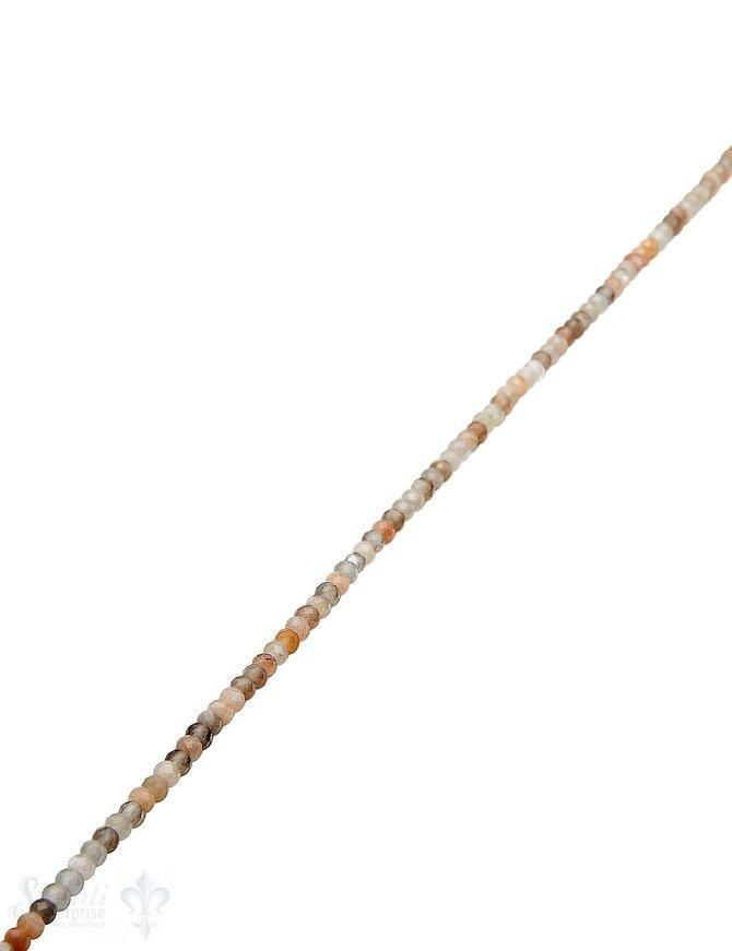 Mondstein Strang multicolor facettiert buttons 3mm (2,8-3,0 mm) hellgrau-beige-peach hell