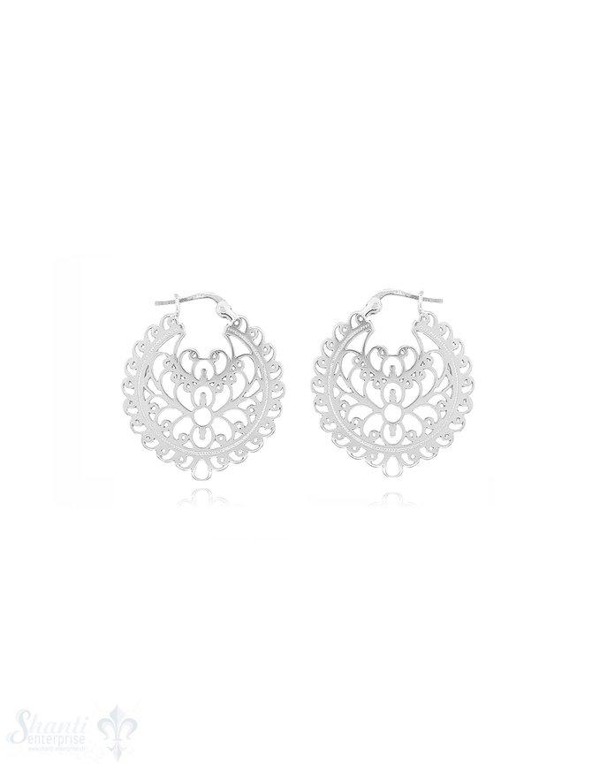 Ohrhänger Silber Medaillon verziert durchbrochen 30 mm Clickverschluss