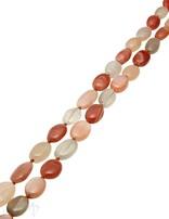 Mondstein Strang multicolor Oval Laufkette AA weiss-apricot-braun-grau dunkel unregelmässig geknüpft