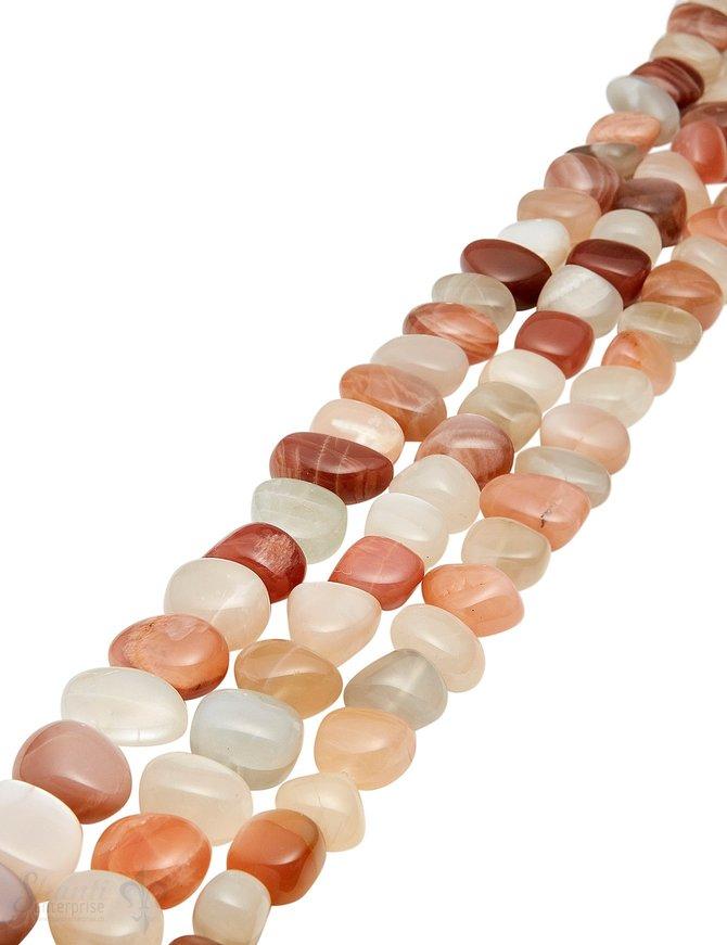 Mondstein Strang multicolor poliert Trommelsteine quer AA beige-apricot-zimt-hellbraun Laufkette unregelmässig