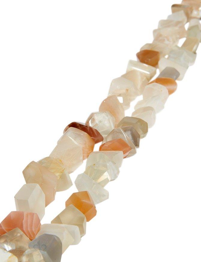 Mondstein Strang multicolor eckige Steine beige-apricot-hellgrau unregelmässig