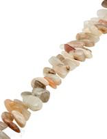 Mondstein Strang multicolor poliert Splitter beige-peach-grau unregelmässig
