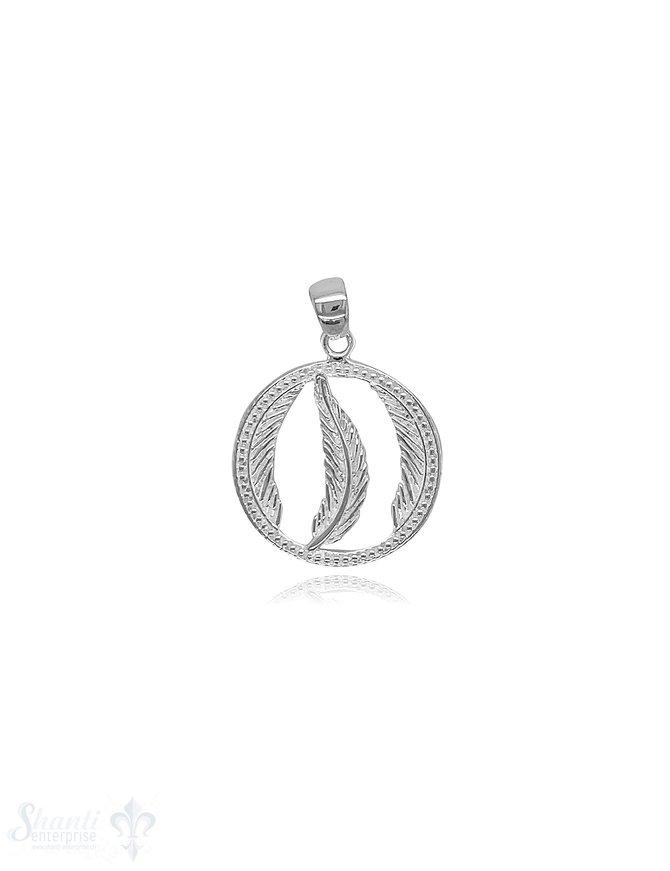 Feder Amulett 18 mm Silber hell verziert offen in der Mitte Feder und je 1/2 Feder seitlich mit Öse