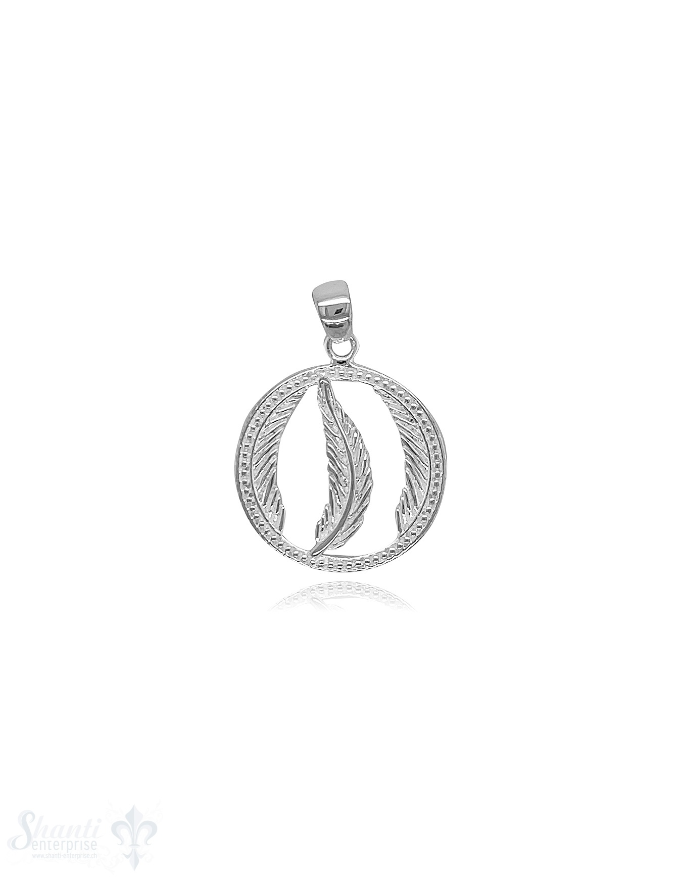 Feder Amulett 18 mm Silber hell verziert offen in