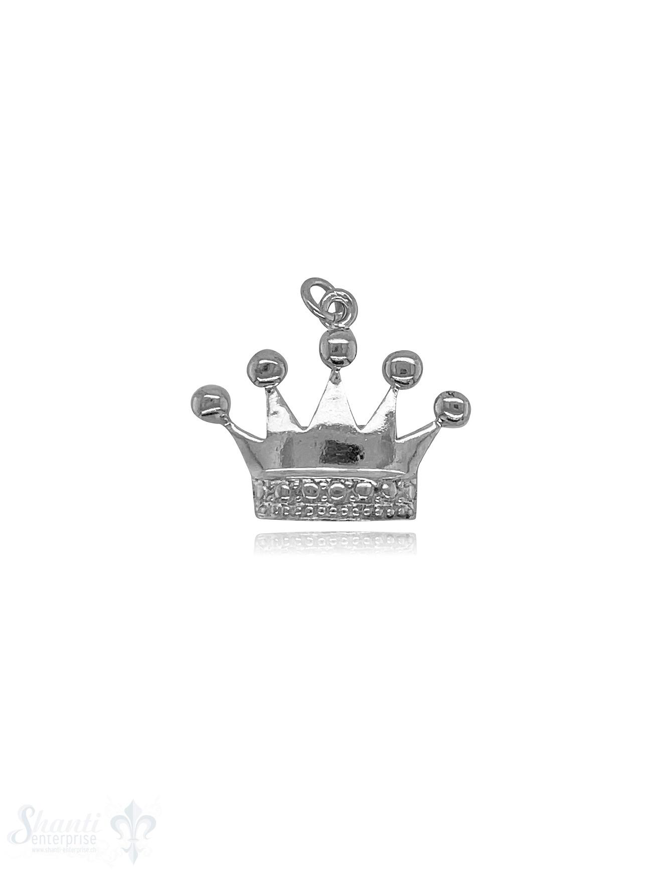 Kronen Anhänger 18x22  mm Silber hell  Vorderseite